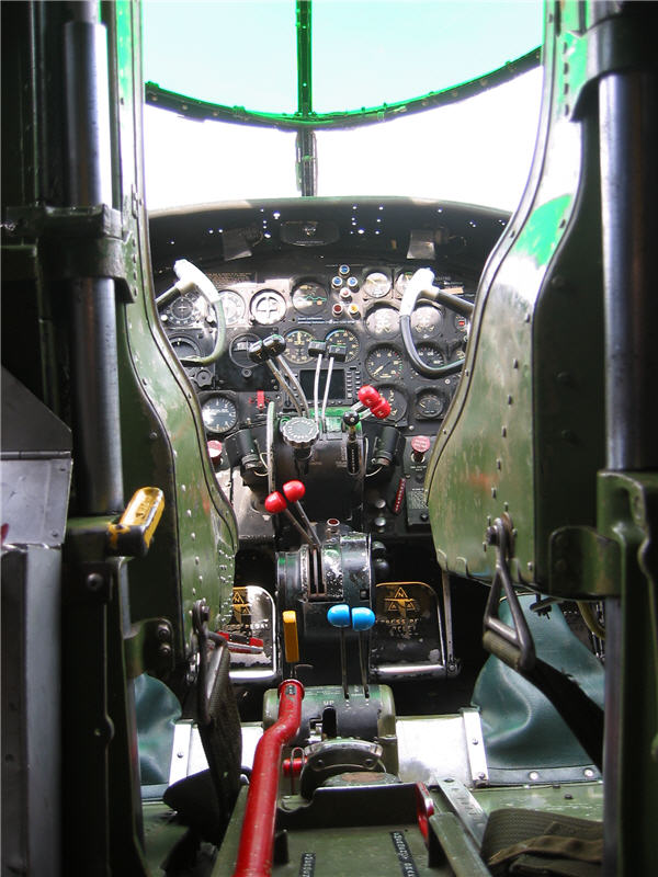 The cockpit from floor level   B25 Cockpit